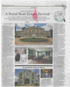 Sowerbys & Burnham Westgate Hall in The Wall Street Journal