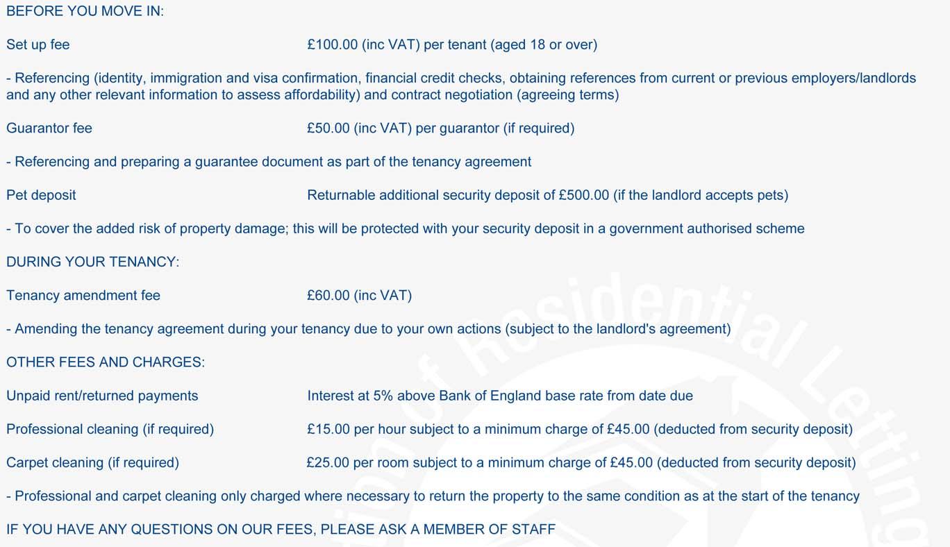 Fees to Tenants