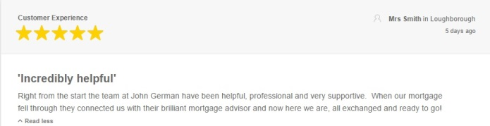 Customer Feefo Review John German Estate Agents in Loughborough