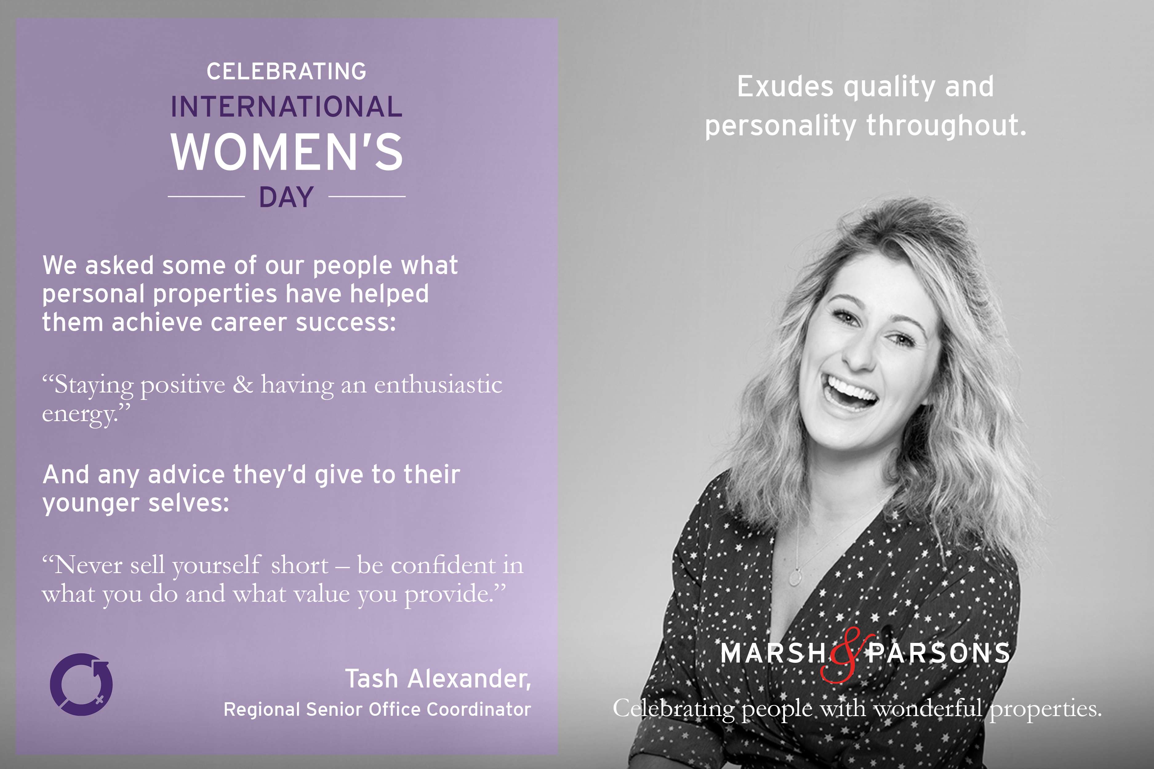 Tash Alexander, International Women's Day