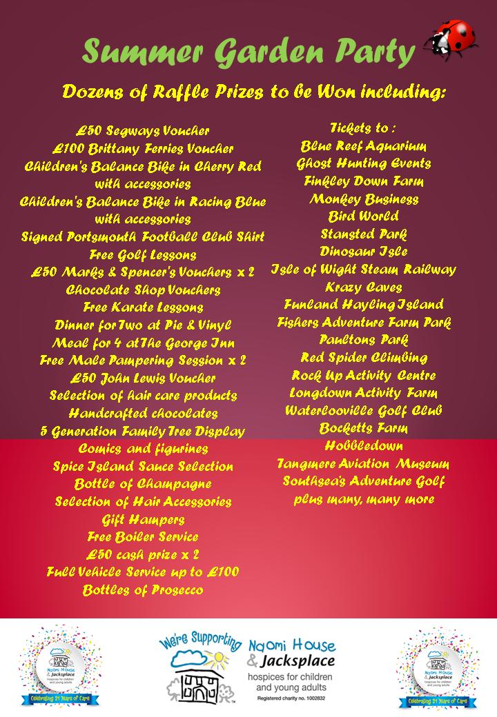 Prize List for Summer Raffle Prize Draw | Belvoir!