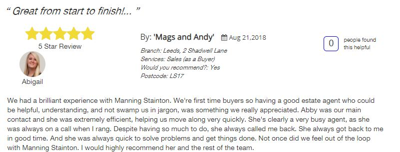 All agents 5 star review manning stainton