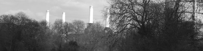battersea power station black and white banner