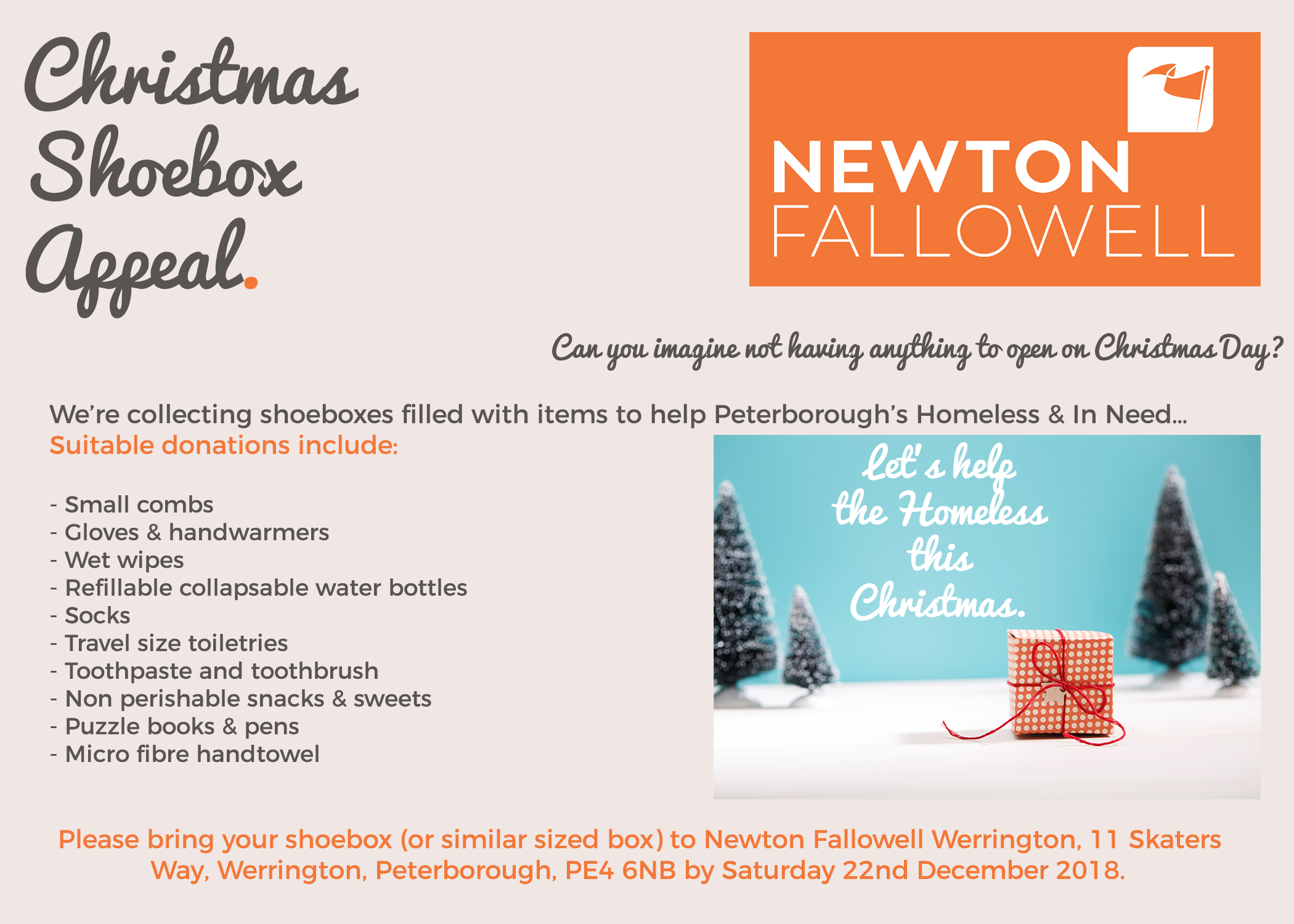 Christmas Shoebox Appeal | Newton Fallowell Estate and Letting agents