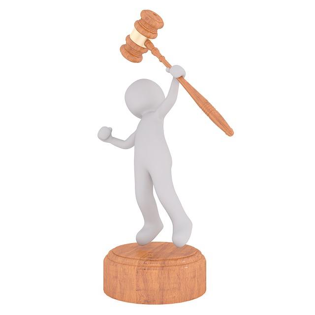 cartoon man holding auction hammer
