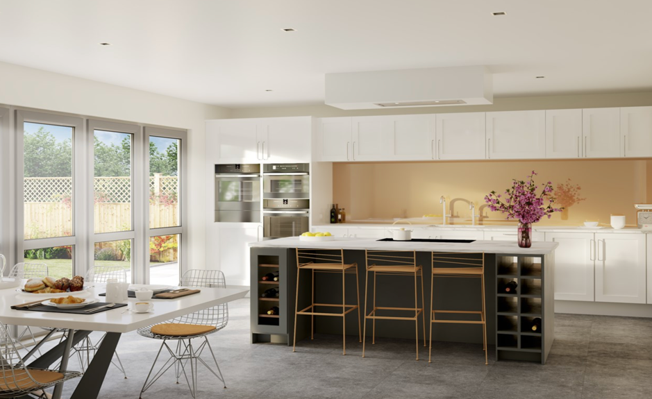 view of the inside of the kitchen of the oaklands development Moseley