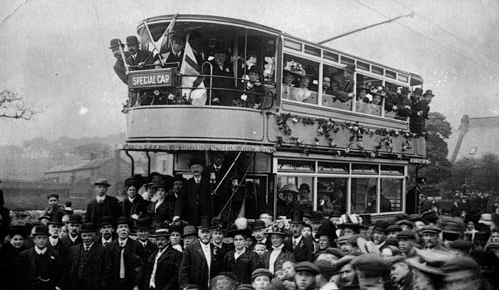 the first tram in Guiseley