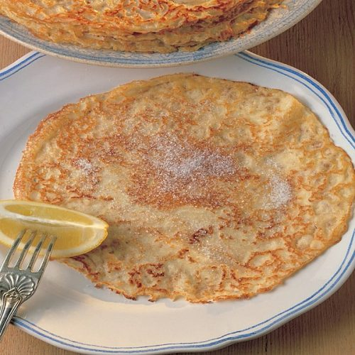 Pancake Day pancakes with sugar and lemon