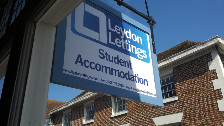 Picture of Leydon Lettings hanging sign reading Leydon Lettings Student Accommodation isplaying contact details