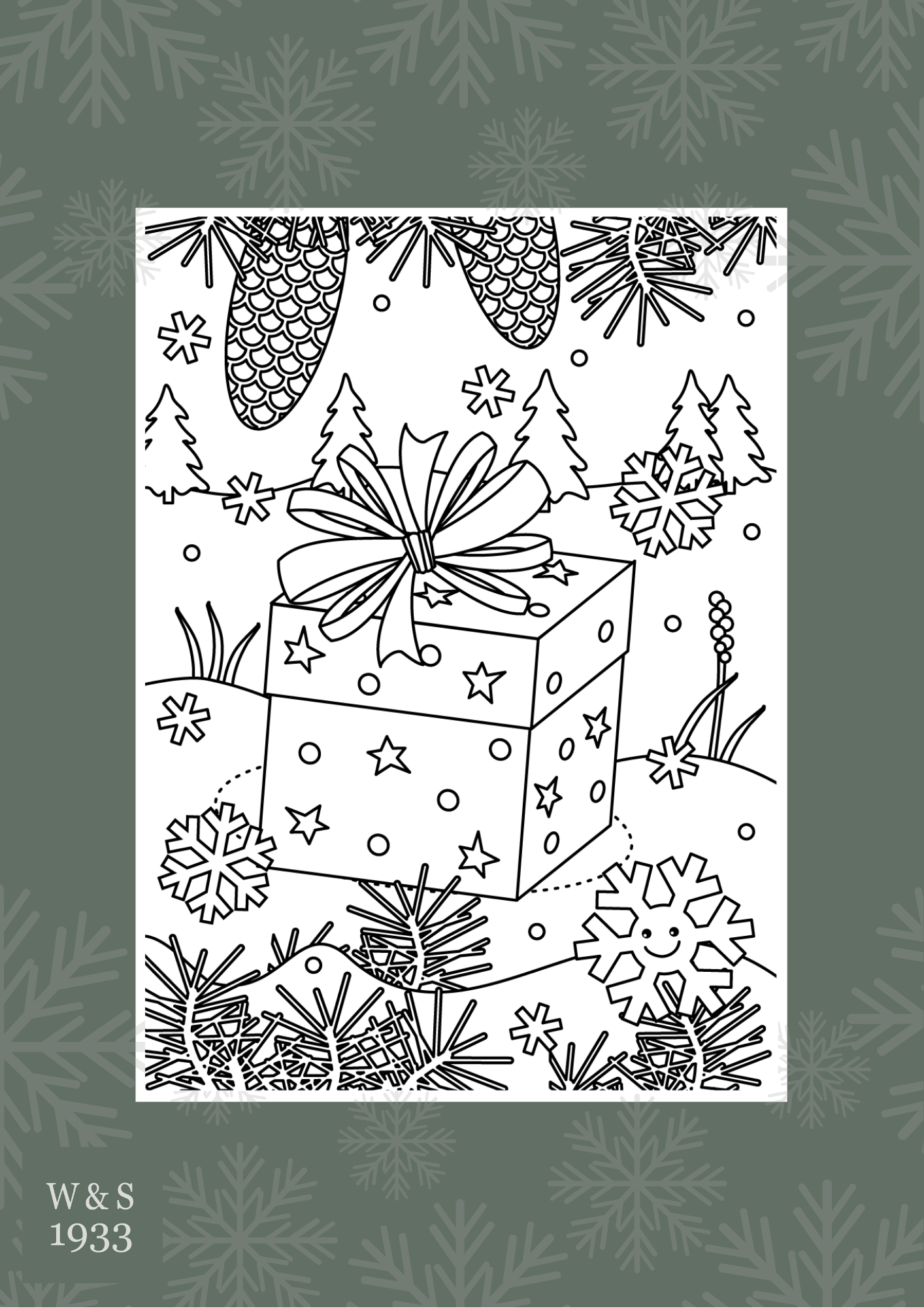 Wills & Smerdon Christmas colouring page 1