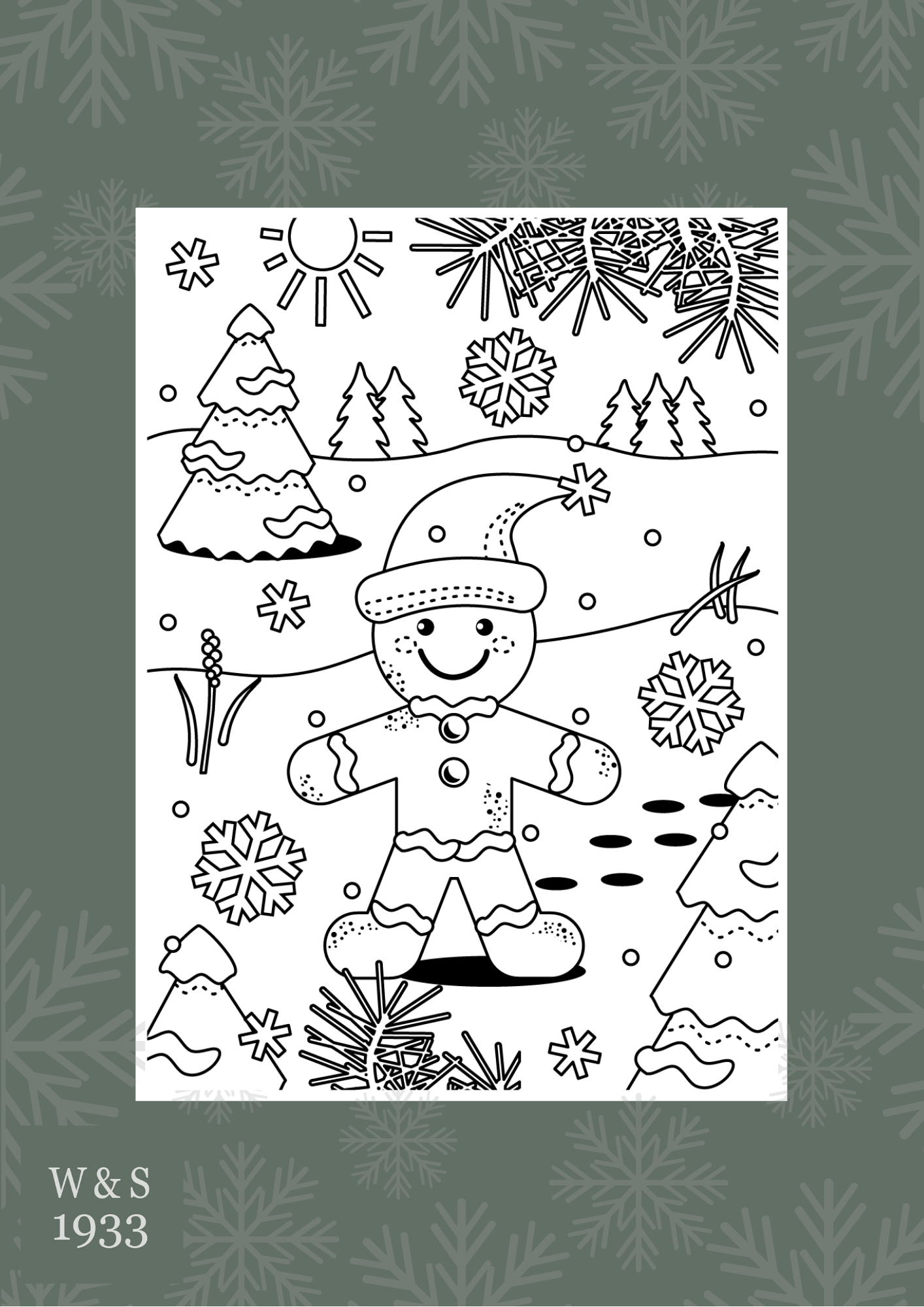Wills & Smerdon Christmas colouring page 3