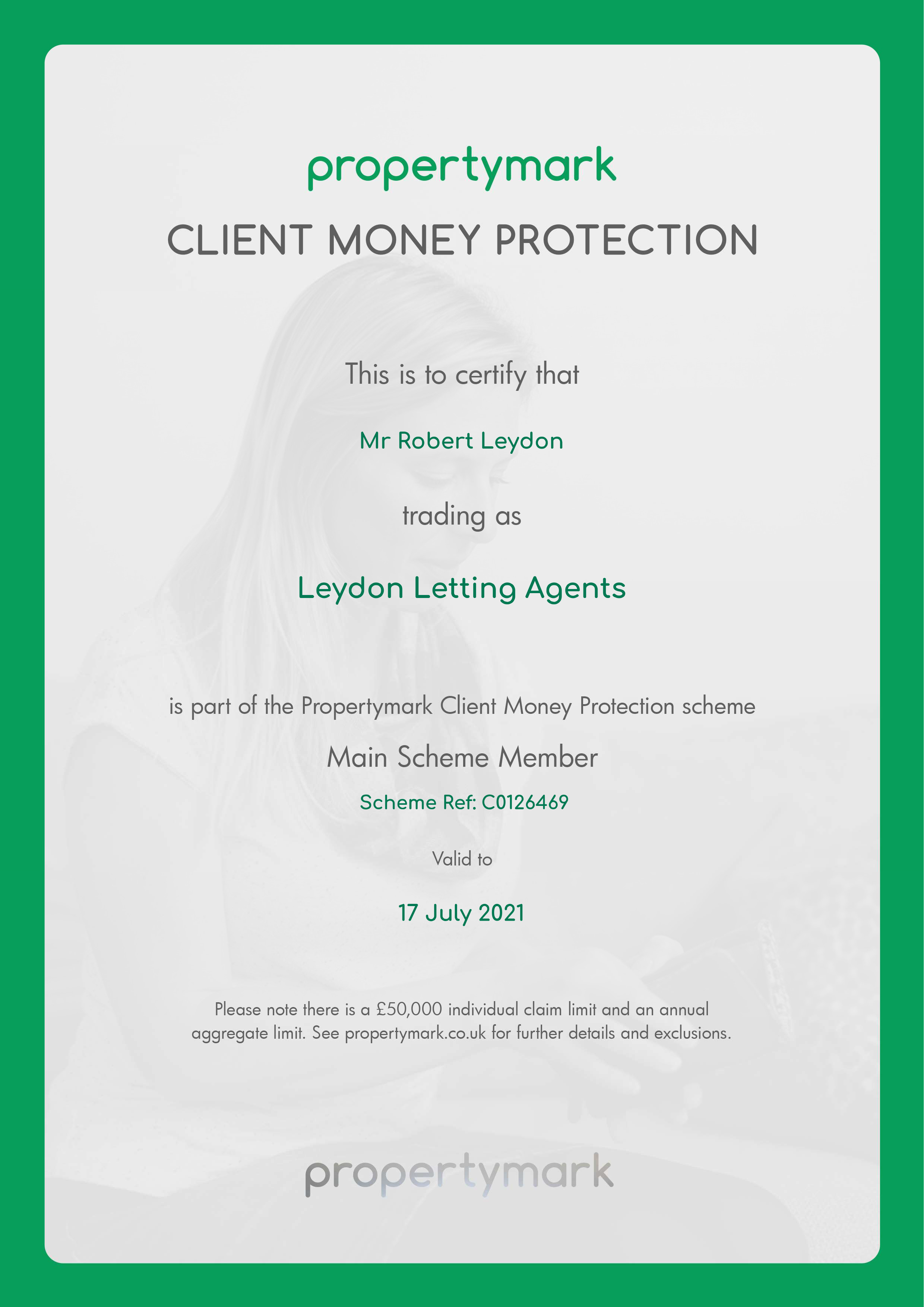 Leydon Lettings Client Money Protection (CMP) Certificate