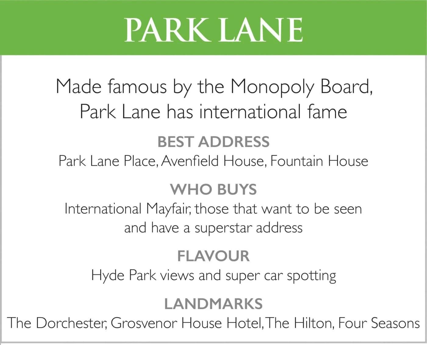Park Lane List of Features