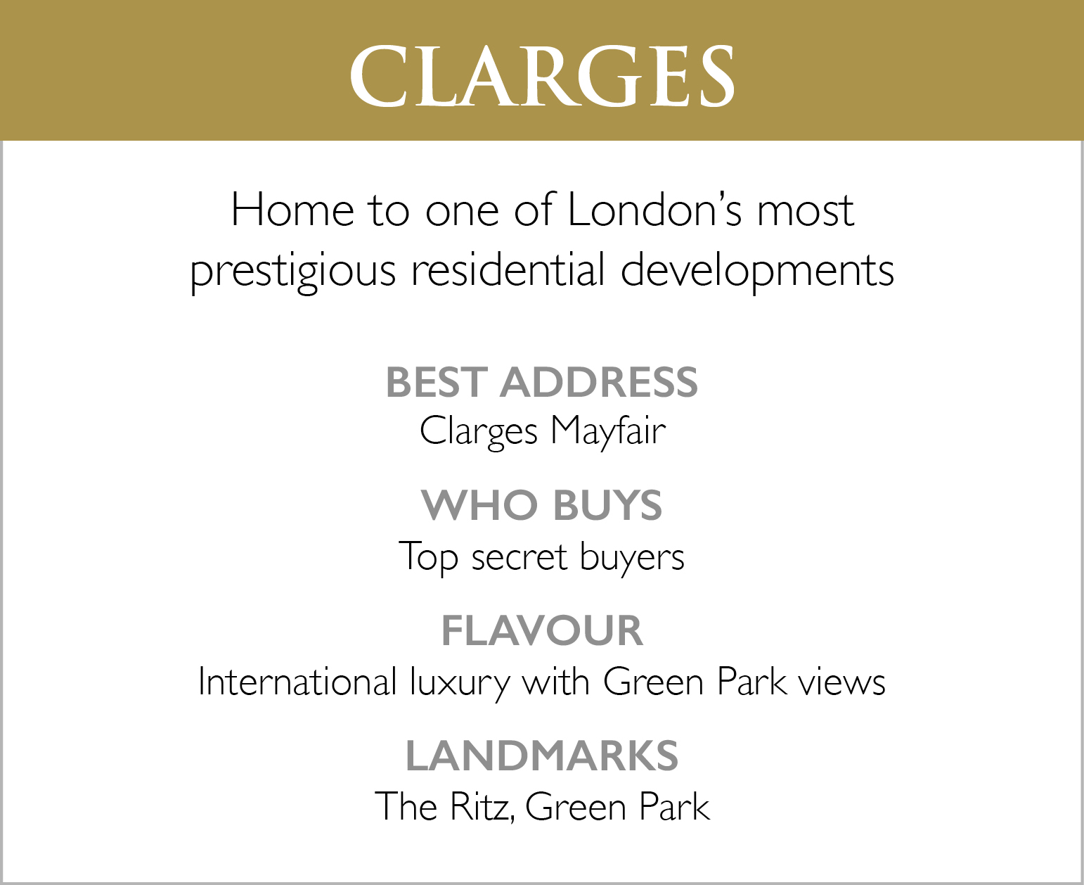Clarges List of Features