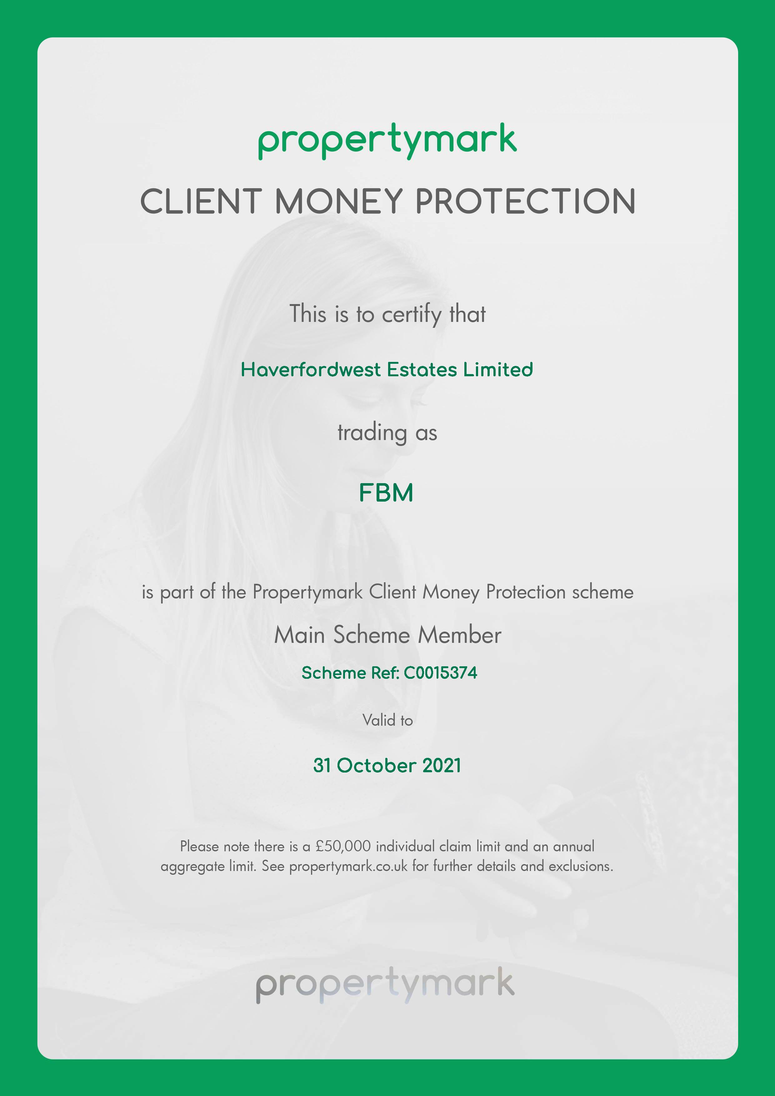Haverfordwest Estates Limited CMP certificate